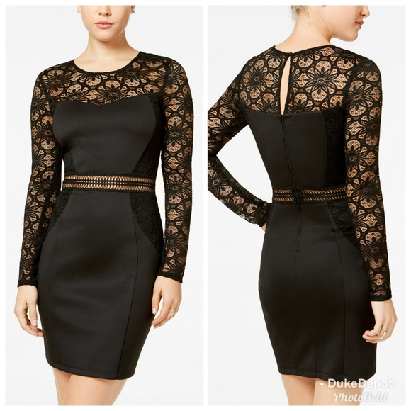 6a4b88db401 Juniors  Lace   Crochet Bodycon Dress Black Sz 0. NWT. BCX